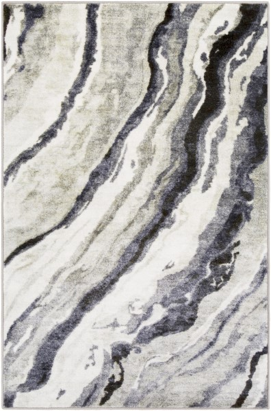 Medium Gray, Black, Dark Blue Contemporary / Modern Area Rug