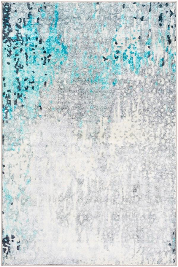 Sea Foam, Bright Blue, White Abstract Area Rug