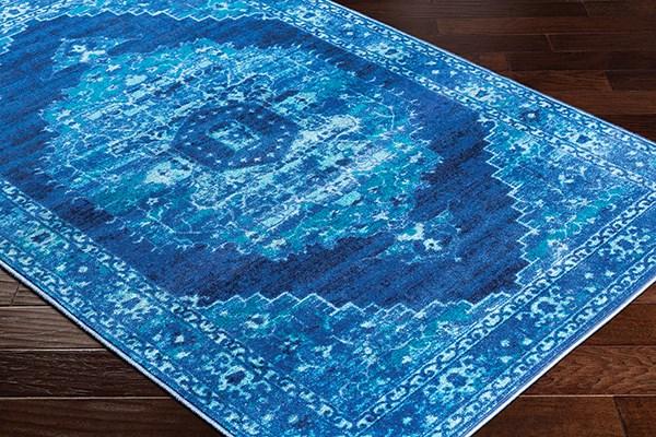 Bright Blue, Sea Foam, Dark Blue Vintage / Overdyed Area Rug