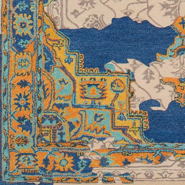 Dark Blue, Khaki, Taupe, Burnt Orange (HNO-1001) Vintage / Overdyed Area Rug