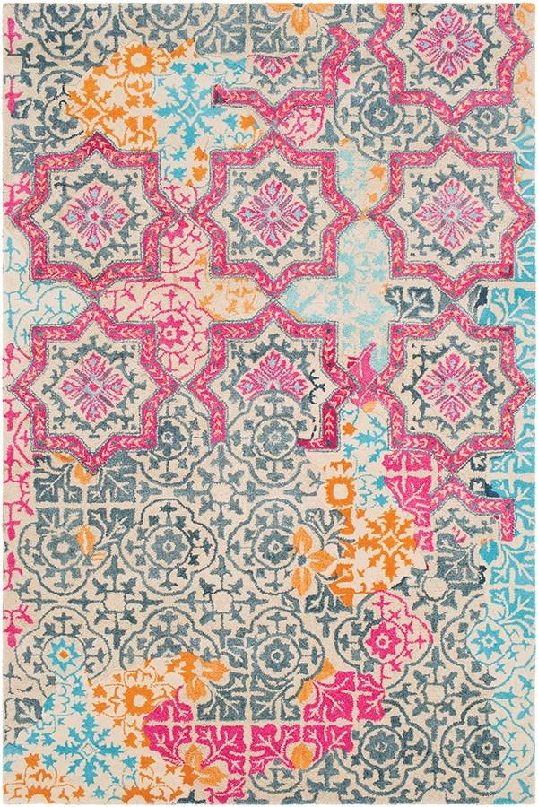 Navy, Pink, Burnt Orange, Blue, Wheat (HNO-1004) Moroccan Area Rug