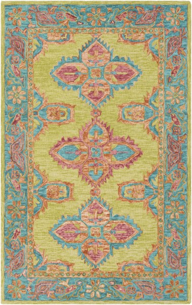 Lime, Teal, Peach, Burnt Orange, Mustard, Coral Bohemian Area Rug