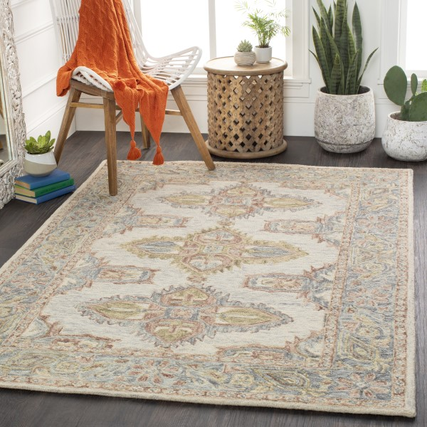 Light Grey, Grey, Cream, Camel, Ivory Traditional / Oriental Area Rug