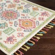 Product Image of Cream, Teal, Dark Coral, Lime, Bright Orange Moroccan Area Rug