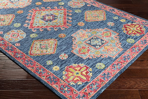 Denim, Navy, Coral, Rose, Butter, Lime Traditional / Oriental Area Rug
