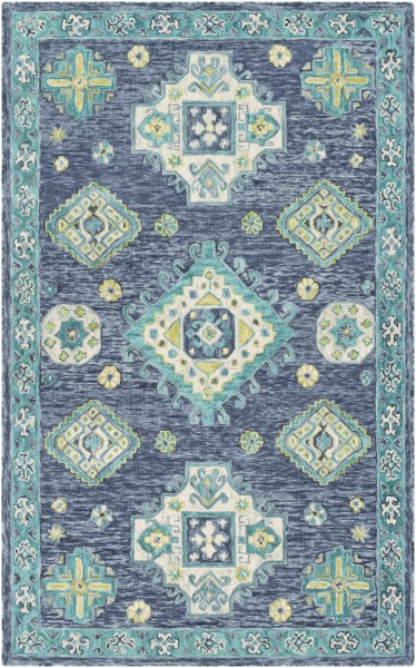 Denim, Navy, Teal, Lime, Khaki Traditional / Oriental Area Rug