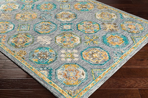 Charcoal, Teal, Wheat, Camel, Dark Brown Traditional / Oriental Area Rug