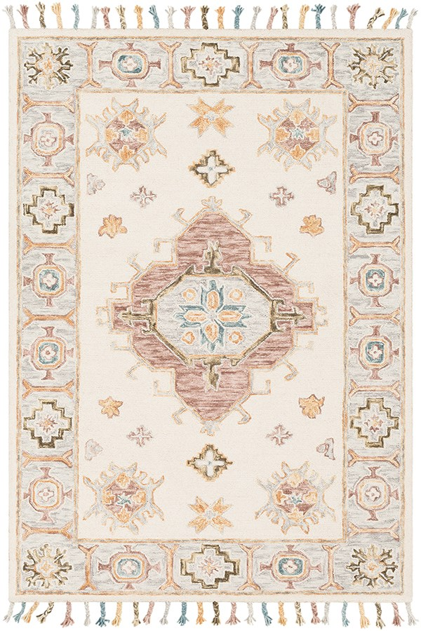 Cream, Ivory, Grey, Camel, Olive, Teal, Green Traditional / Oriental Area Rug