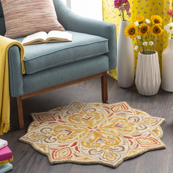 Mustard, Red, Cream Contemporary / Modern Area Rug