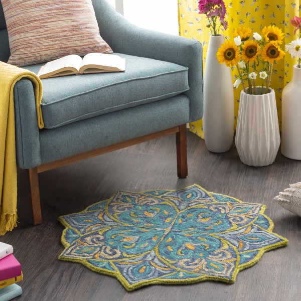 Teal, Navy, Lime Transitional Area Rug