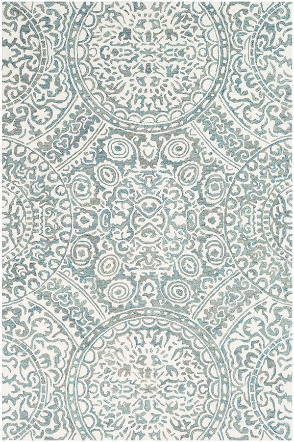 Teal, Cream Mandala Area Rug