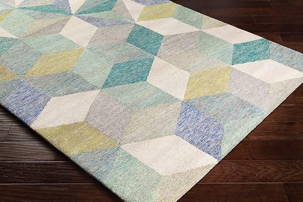 Teal, Khaki, Mint Contemporary / Modern Area Rug