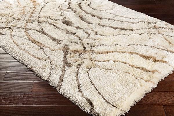 Cream, Charcoal, Tan (CSR-1004) Shag Area Rug