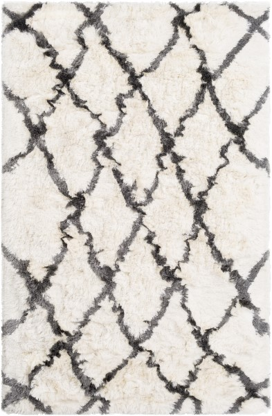 Cream, Charcoal (CSR-1002) Shag Area Rug