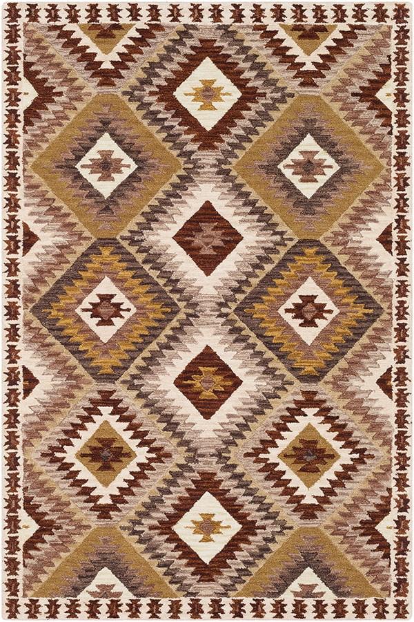 Dark Brown, Beige, Dark Brown Southwestern / Lodge Area Rug