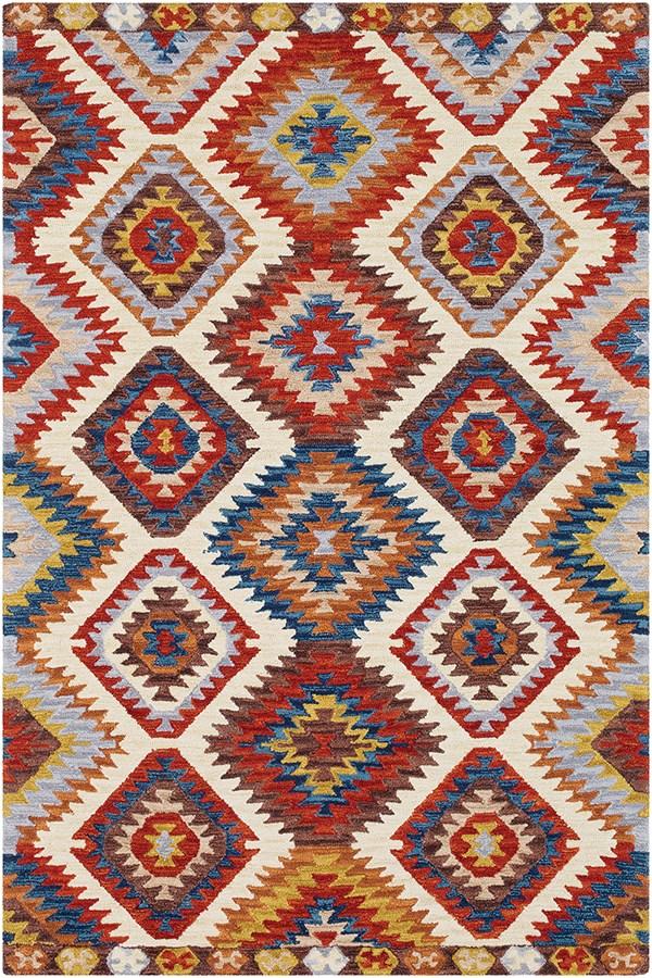 Dark Red, Khaki, Camel Southwestern / Lodge Area Rug