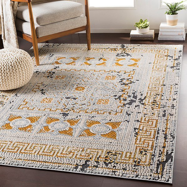 Beige, Mustard, Bright Orange, Charcoal, Grey Transitional Area Rug