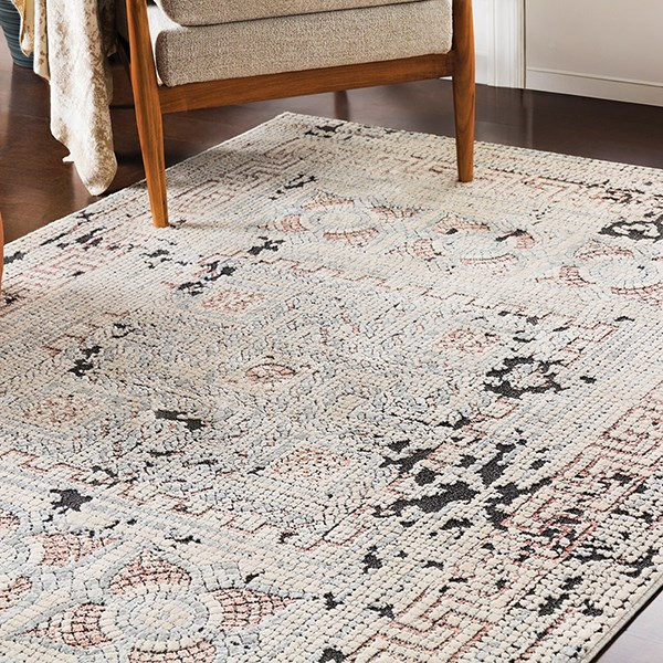 Beige, Rose, Medium Grey, Charcoal Transitional Area Rug