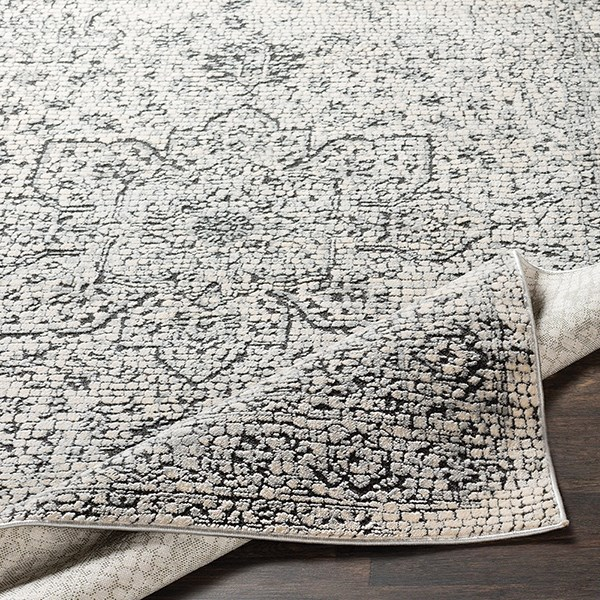 Medium Grey, Beige, Charcoal Vintage / Overdyed Area Rug