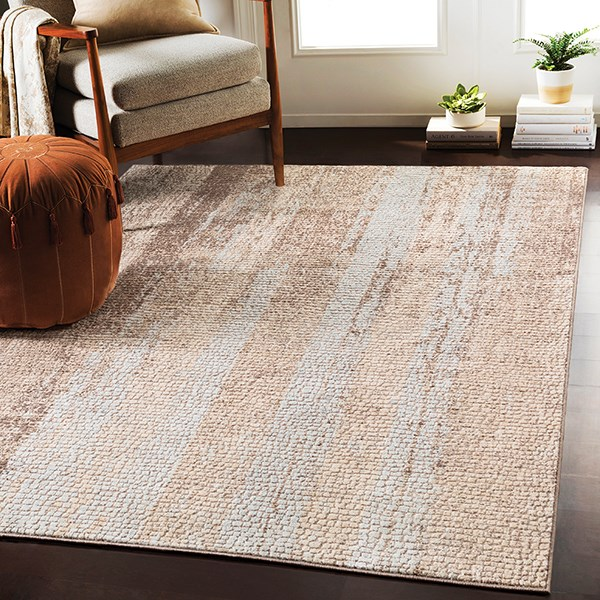 Camel, Dark Brown, Beige, Medium Grey Transitional Area Rug