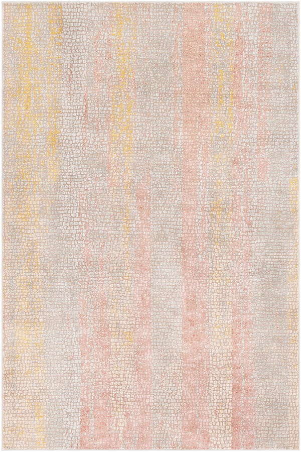 Camel, Grey, Rose, Mustard Contemporary / Modern Area Rug