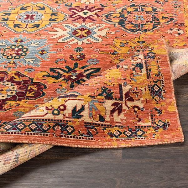 Orange, Grey, Wheat, Denim, Dark Red, Saffron Southwestern / Lodge Area Rug