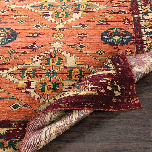Orange, Red, Green, Saffron, Denim, Wheat Southwestern / Lodge Area Rug