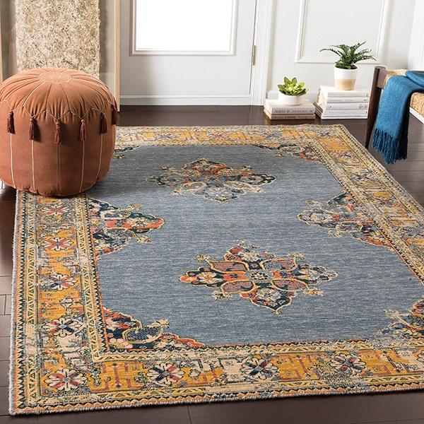 Denim, Wheat, Dark Green, Saffron, Orange Traditional / Oriental Area Rug