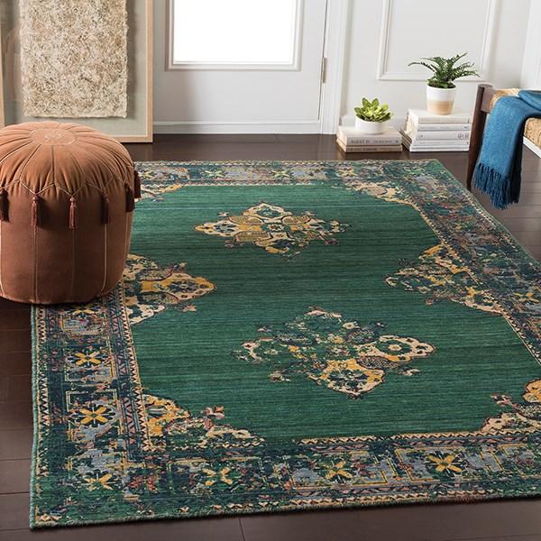 Green, Denim, Wheat, Saffron, Orange, Grey Traditional / Oriental Area Rug
