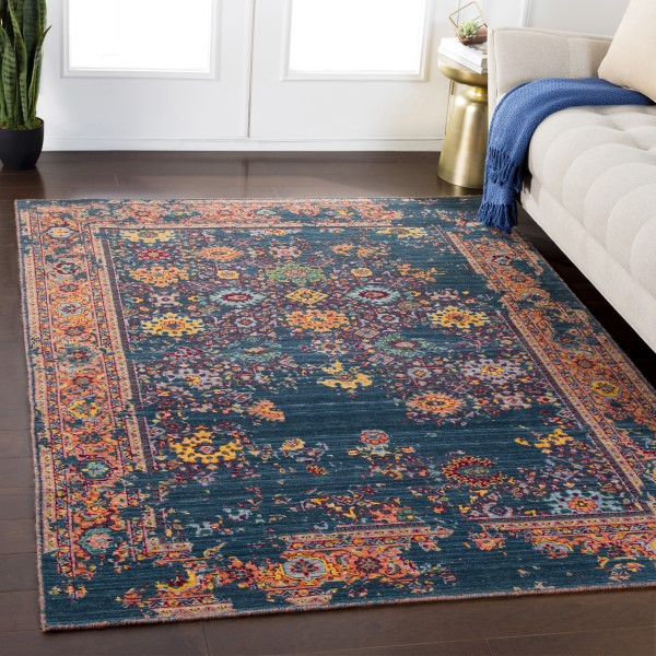 Green, Red, Saffron, Orange, Grey Bohemian Area Rug