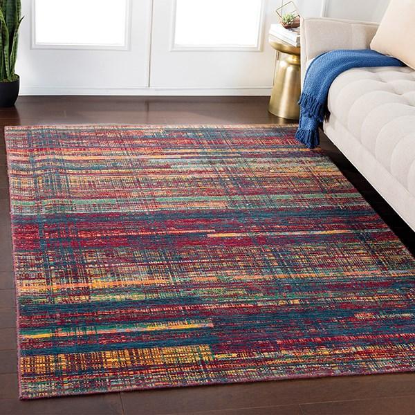 Dark Red, Green, Saffron, Orange, Grey Contemporary / Modern Area Rug
