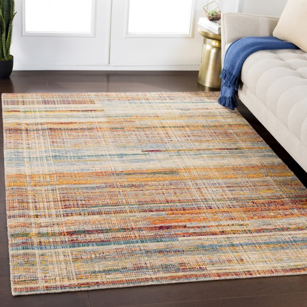 Wheat, Red, Saffron, Green, Orange Abstract Area Rug