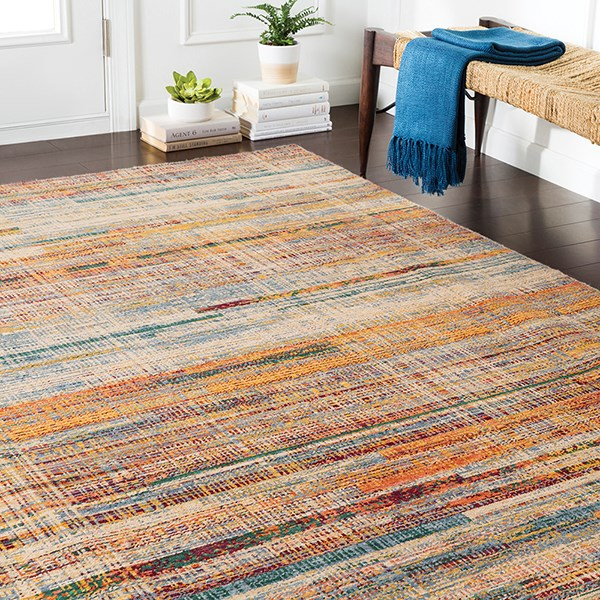Wheat, Red, Saffron, Green, Orange Southwestern / Lodge Area Rug