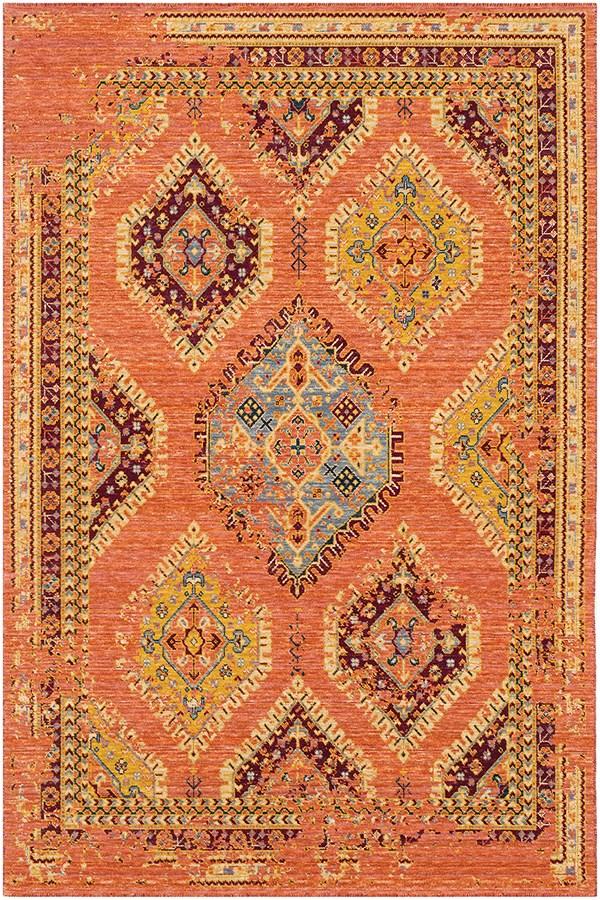 Orange, Red, Wheat, Saffron, Grey, Denim Southwestern / Lodge Area Rug