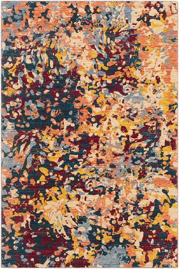 Denim, Wheat, Saffron, Orange, Grey Abstract Area Rug