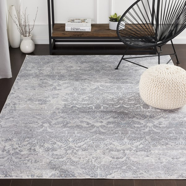 Silver Gray, Medium Gray, White Vintage / Overdyed Area Rug