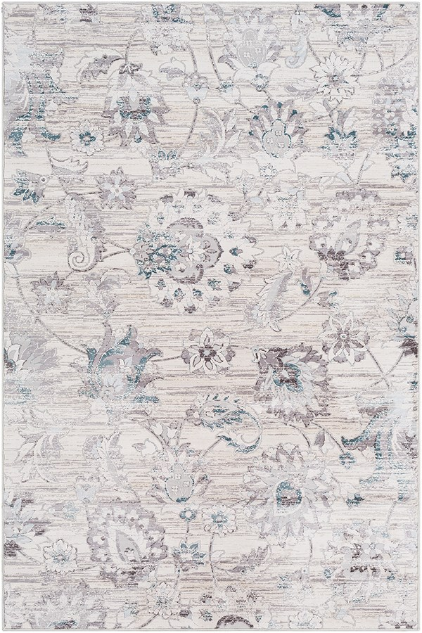 Silver Gray, White, Denim Vintage / Overdyed Area Rug