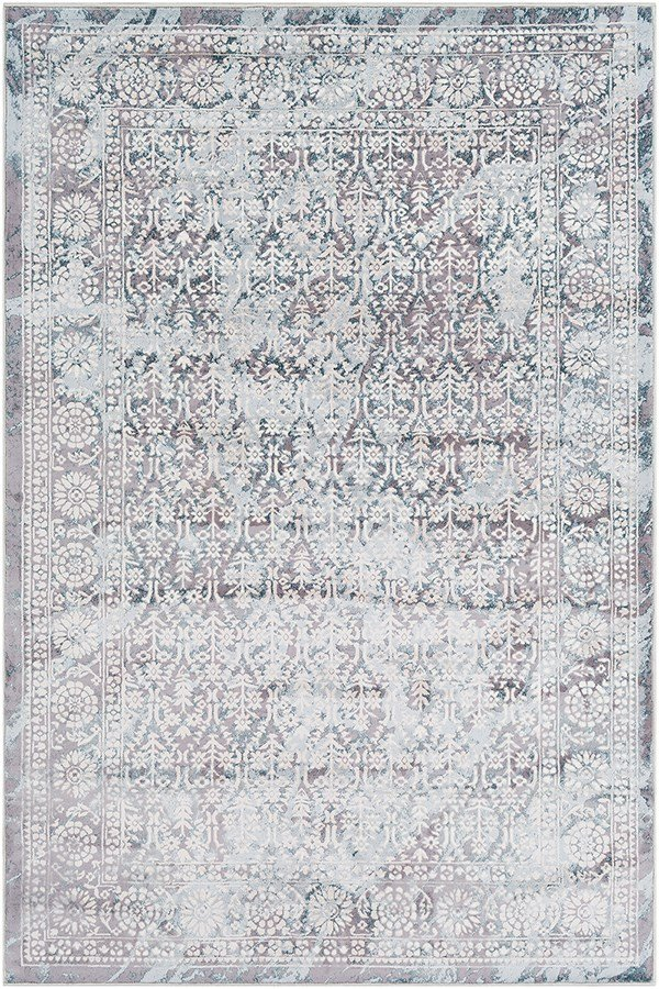 Silver Gray, White, Pale Blue Vintage / Overdyed Area Rug