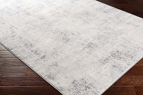 Silver Gray, White, Pale Blue Abstract Area Rug