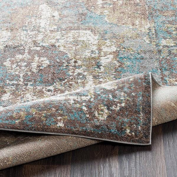 Camel, Aqua, Charcoal Vintage / Overdyed Area Rug