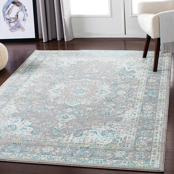 Aqua, Silver Gray Traditional / Oriental Area Rug
