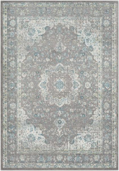 Aqua, Silver Gray Traditional / Oriental Area Rug