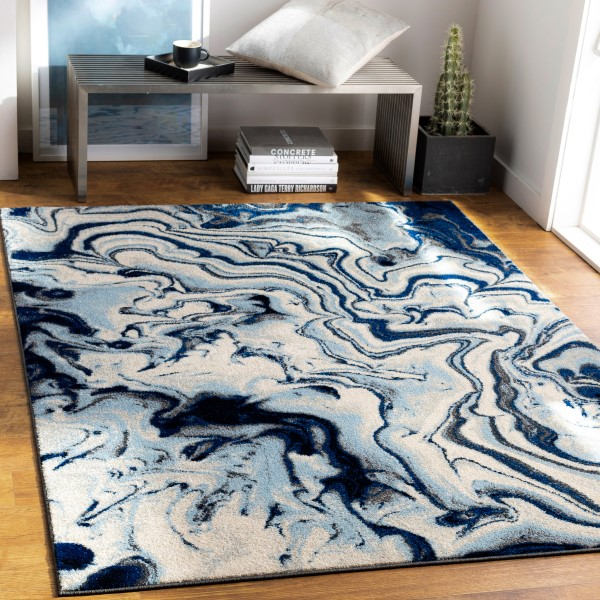 Blue, Ivory, Grey Contemporary / Modern Area Rug
