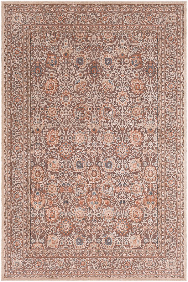 Aqua, Navy, Burnt Orange, Cream, Khaki, Dark Brown Traditional / Oriental Area Rug