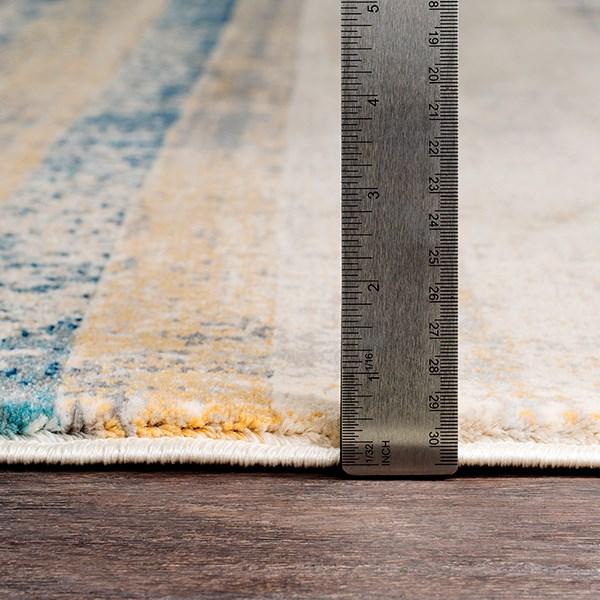 Teal, Navy, Saffron Striped Area Rug