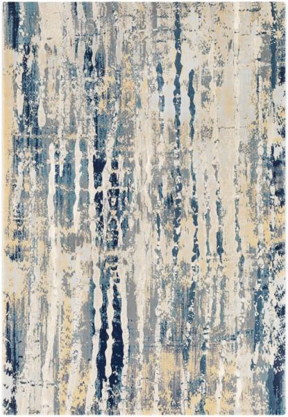 Teal, Navy, Medium Gray Abstract Area Rug