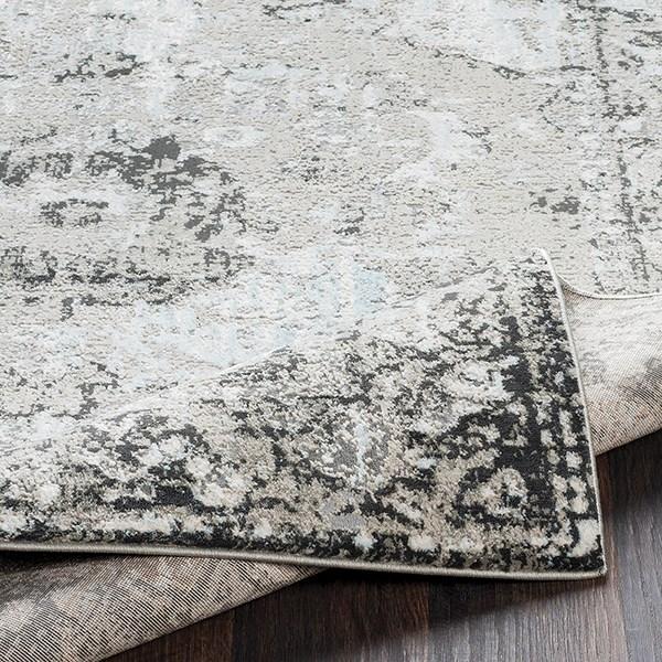Grey, Taupe, Camel, Black, White, Pale Blue Vintage / Overdyed Area Rug