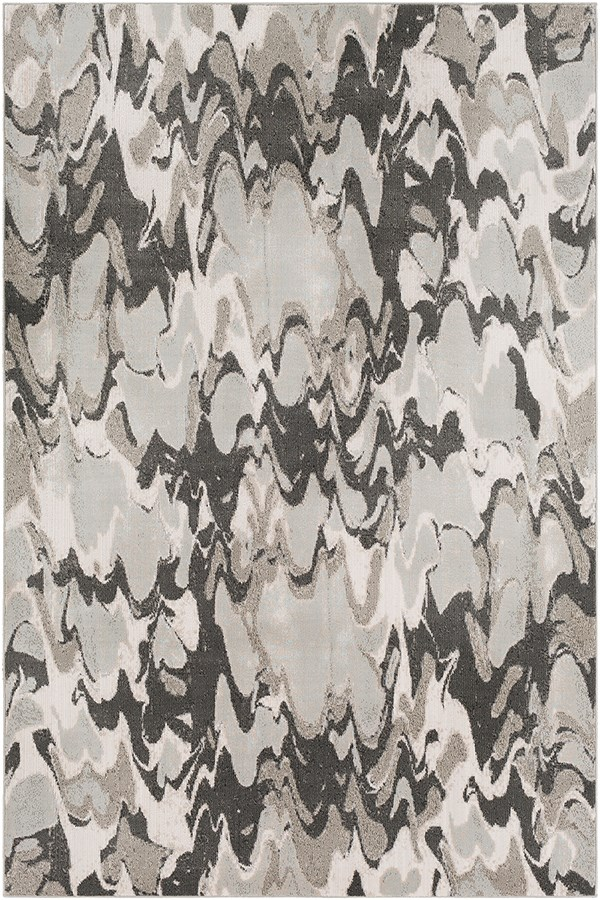 Grey, White, Light Grey, Pale Blue, Cream Abstract Area Rug