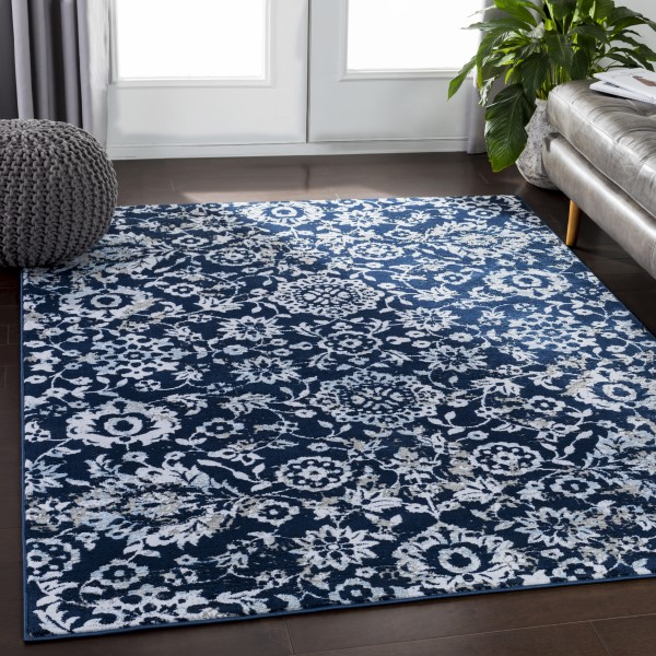 Navy, White, Grey, Camel, Taupe, Pale Blue Traditional / Oriental Area Rug