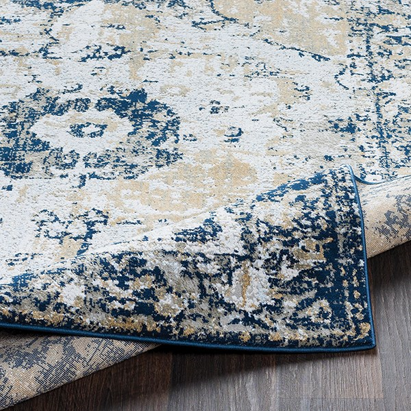 Grey, Taupe, White, Navy, Pale Blue, Light Grey Traditional / Oriental Area Rug